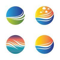 imágenes de logo atardecer playa vector
