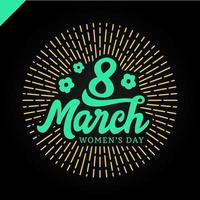 8 de marzo letras de la tarjeta de felicitación del día de la mujer vector