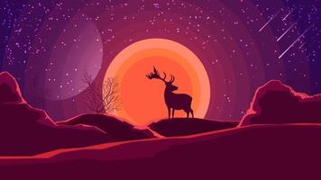 Landscape with sunset over the mountains, the silhouette of a deer and a starry sky in shades of purple. Vector illustration.