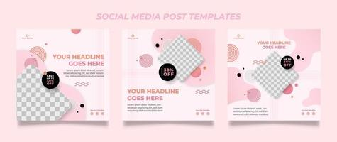 Set of Editable minimal square banner template vector