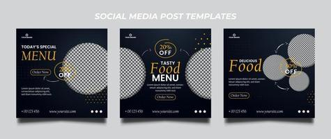Conjunto de plantillas de banner cuadrado de promoción de alimentos vector