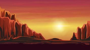 Sunrise in a sandy canyon in warm orange tones. Vector illustration