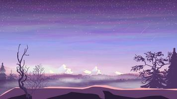 Evening landscape, pine forest in fog and snowy mountains, starry sky with falling stars. Vector illustration