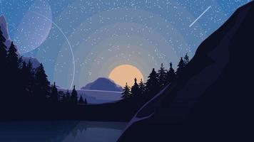 Landscape with starry sky, planets, pine forest and lake in the mountains. Vector illustration