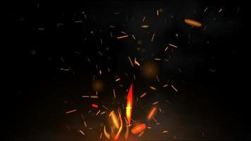 Fire flying sparks on a black background, vector realistic illustration