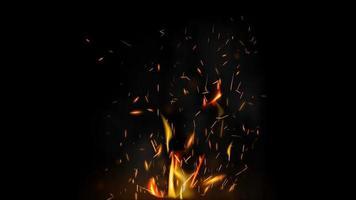 fuego volando chispas sobre un fondo negro para tus artes vector
