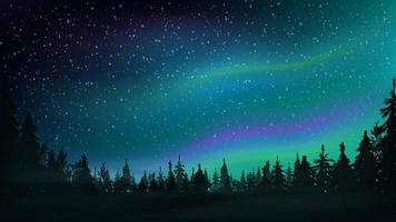 Pine forest, starry sky and Northern lights. Night landscape with beautiful sky. Vector illustration.