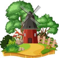 Countryside windmill house isolated vector