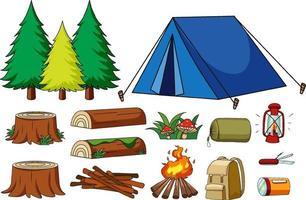 conjunto de elementos de camping aislado vector