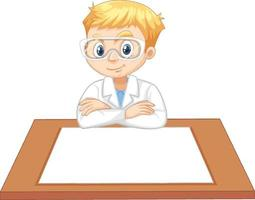 un niño con bata de científico con papel vacío sobre la mesa vector