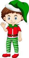 Cute boy wearing Christmas costumes cartoon character vector
