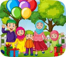 Cute muslim family celebrating party vector