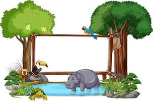 Banner vacío con animales salvajes y árboles de la selva sobre fondo blanco. vector