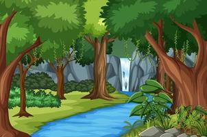 Escena del bosque con río y muchos árboles. vector