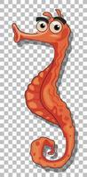 personaje de dibujos animados de caballito de mar naranja vector