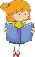 linda chica leyendo libro doodle personaje de dibujos animados vector