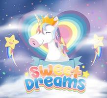 Lindo personaje de dibujos animados de unicornio con símbolo de dulces sueños en el cielo vector