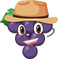 Grape cartoon character with facial expression vector