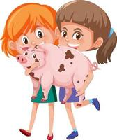 Two girls holding cute animal cartoon character isolated on white background vector