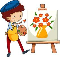 Little artist drawing the picture cartoon character isolated vector