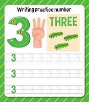 Writing practice number 3 worksheet vector