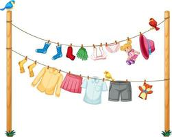 Isolated clothes hanging on clothesline on white background vector