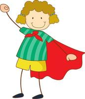 Super hero girl cartoon character in hand drawn doodle style isolated vector