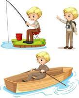 personaje de dibujos animados de un niño con trajes de campamento haciendo diferentes actividades vector