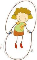Un niño doodle saltando la cuerda personaje de dibujos animados aislado vector
