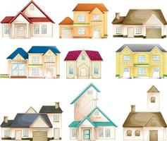 Set of different types of houses isolated vector