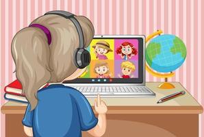 Vista posterior de una niña comunicarse por videoconferencia con amigos en la escena de la casa vector