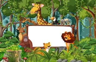 Blank banner in the rainforest scene with wild animals vector