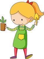 pequeño jardinero doodle personaje de dibujos animados vector