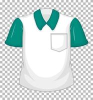 Blank white shirt with green short sleeves and pocket vector