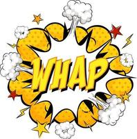 WHAP text on comic cloud explosion isolated on white background vector