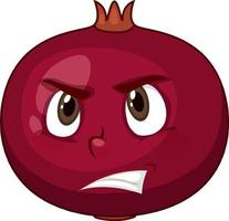 Pomegranate cartoon character with facial expression vector