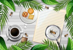 nota vacía sobre la mesa con abeja y café vector