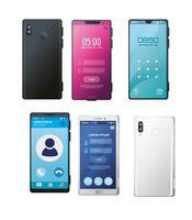 conjunto de maquetas de teléfonos inteligentes realistas vector