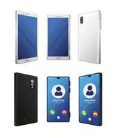 conjunto de maquetas de teléfonos inteligentes realistas sobre fondo blanco vector