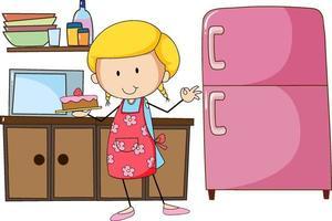 Linda chica panadera con equipos de cocina sobre fondo blanco. vector