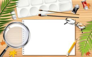 plantilla de nota en blanco con elementos de papelería vector
