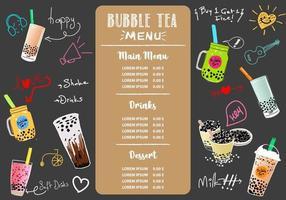 té con leche de burbujas, té con leche de perlas, diferentes tipos de boba. deliciosas bebidas.