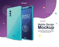 maqueta de diseño de teléfono móvil, maqueta de teléfono inteligente realista con seguridad de candado vector