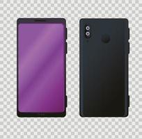 Vista frontal y lateral, maqueta realista de teléfonos inteligentes. vector