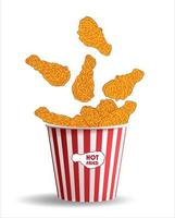 carne de pollo frito. elementos de diseño de menú de comida rápida. vector