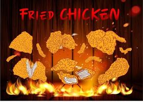 Fried chicken meat. Fast food menu design elements. vector