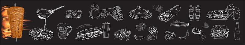 cocina shawarma e ingredientes para kebab. vector
