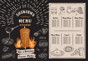 Shawarma cooking and ingredients for kebab. vector