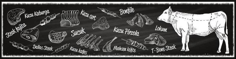 carnicería de carnicero de carne de pavo vintage, vector