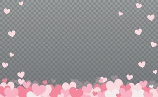 corazones suavemente rosa-rojo sobre un fondo gris a cuadros vector
